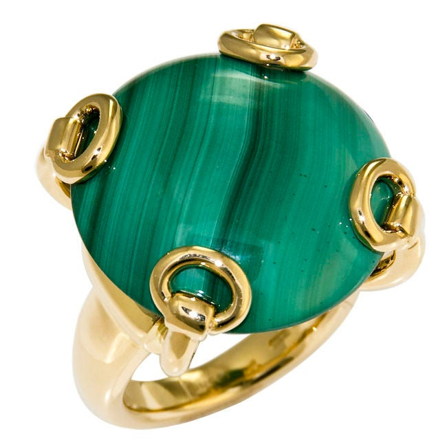 Women's Large 18K and Malachite Ring by Gucci