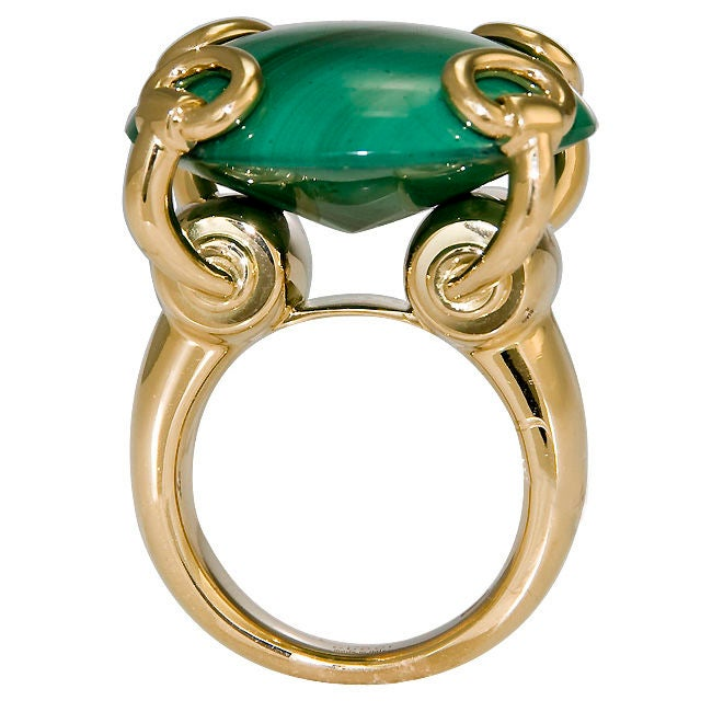 Large 18K and Malachite Ring by Gucci 1