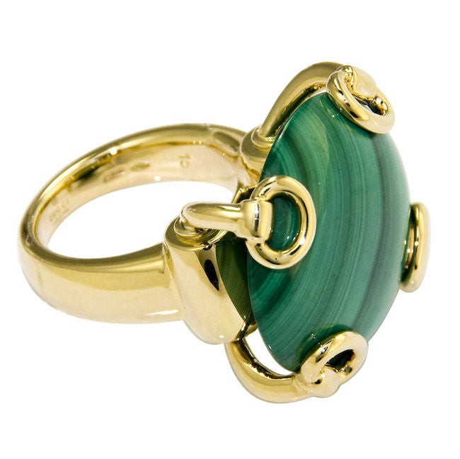Large 18K and Malachite Ring by Gucci