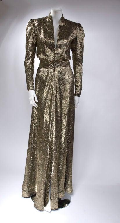 Scherrer Boutique Gold Lamé Gown 2