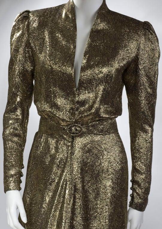 Scherrer Boutique Gold Lamé Gown 3