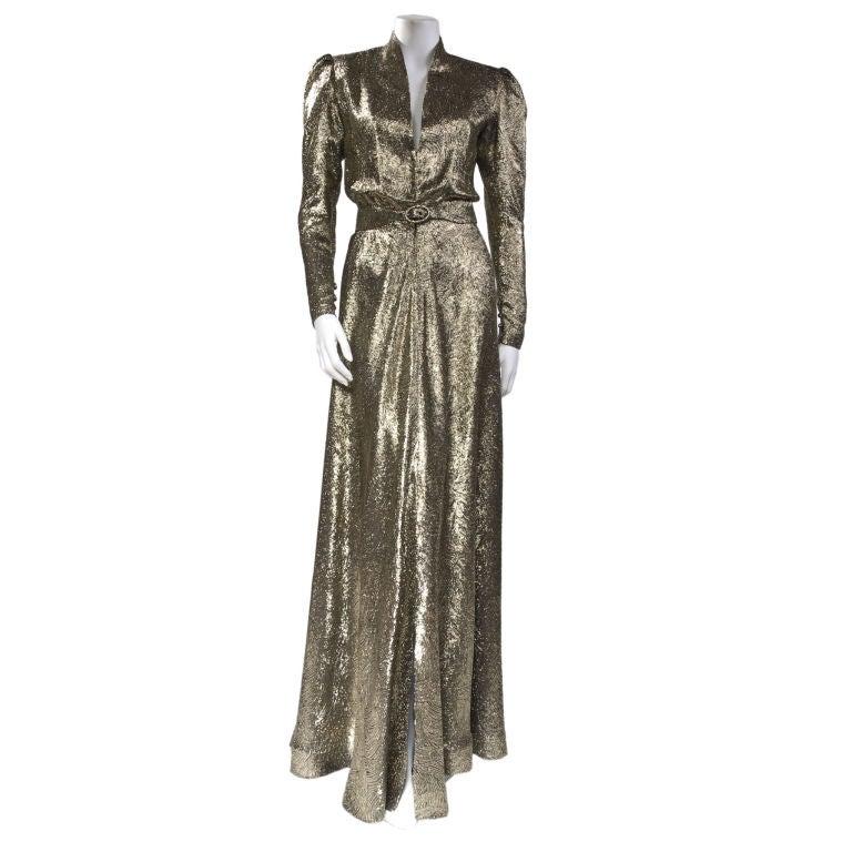 Scherrer Boutique Gold Lamé Gown 1