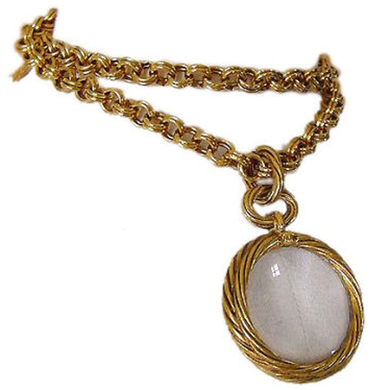 chanel vintage necklace magnifying glass pendant at