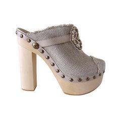 Chanel Shoe Platform Clog Limited Edition Jewel Hardware  40.5 / 10.5 New