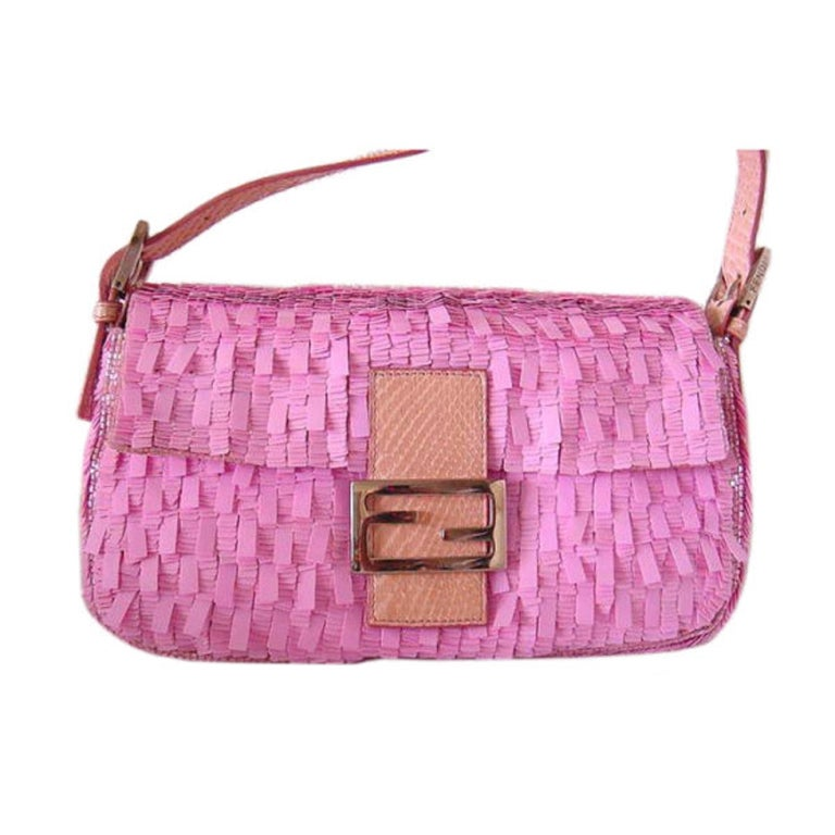 FENDI Baguette Bag Pink Paillettes Exotic Skin Handle Vintage 1