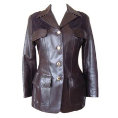 Chanel Vintage Leather Jacket Lots CC Buttons Rear Button Vent 40 / 6 mint