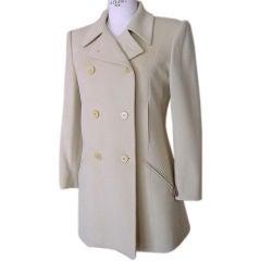 Hermes Vintage Jacket / Car Coat Pale Celadon Green Remarkable Cut 38