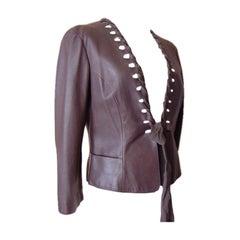 Giorgio Armani Leather Jacket Ribbon Detail Medium Brown 44 / 8 New