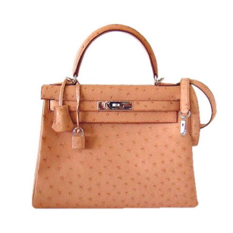 d3d52b14b7d0 HERMES Ostrich Kelly Bag 28cm NATURELLE SO chic!! at 1stdibs