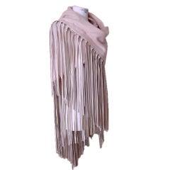 HERMES Cashmere wool oversized Shawl DRAMATIC Leather Fringe