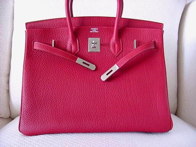 high quality hermes replica - HERMES BIRKIN 35 ROUGE VIF bag FJORD Leather at 1stdibs