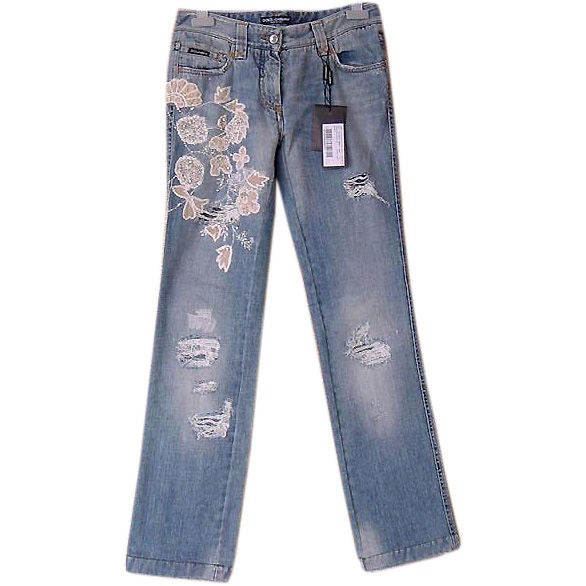 DOLCE&GABBANA Embellished Distressed Jean Smashing Details new 1