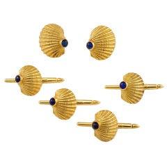 CIPULLO Gold and Sapphire Shell Dress Cufflink Set