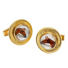 Horse Reverse Crystals and Gold Cufflinks