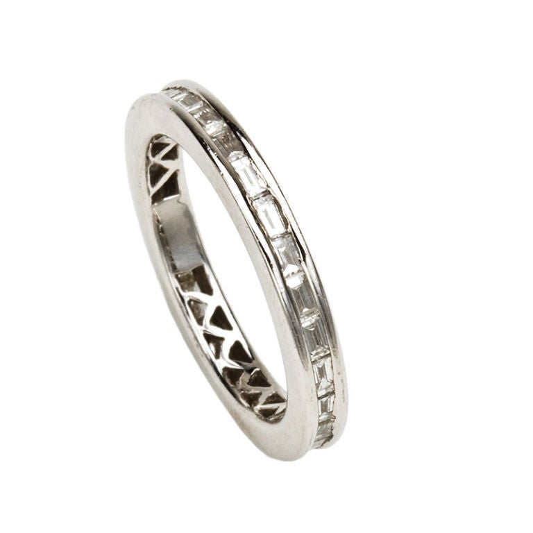 Art Deco Diamond Baguette Eternity Wedding Band 1