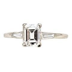 Very Fine Cartier D Color Emerald Cut Diamond Ring