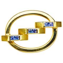 Cartier Sapphire Gold Oval Brooch