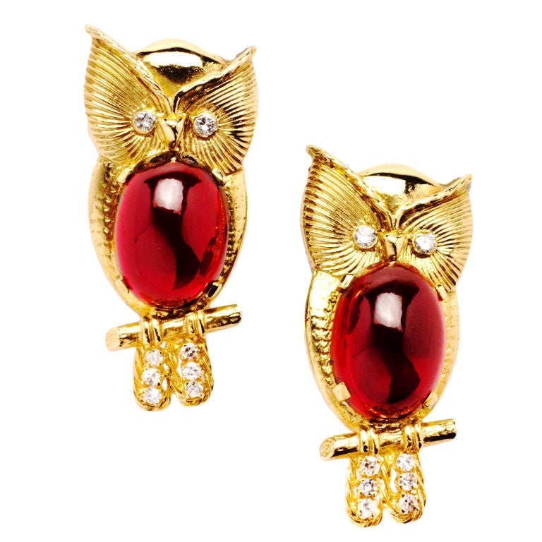 "Pair of ""Wise Owl"" Garnet Gold Pins"