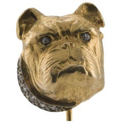 British Bull Dog Gold and Diamond Stick Pin