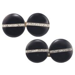 Art Deco Platinum Onyx and Rose Diamond Cufflinks