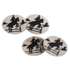 Sterling Silver and Black Enamel Horse and Rider Cufflinks
