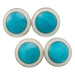 Sterling Silver and Guilloche Enamel Cuff Links