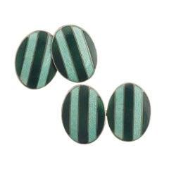 Sterling Silver Green Striped Enamel Cuff Links