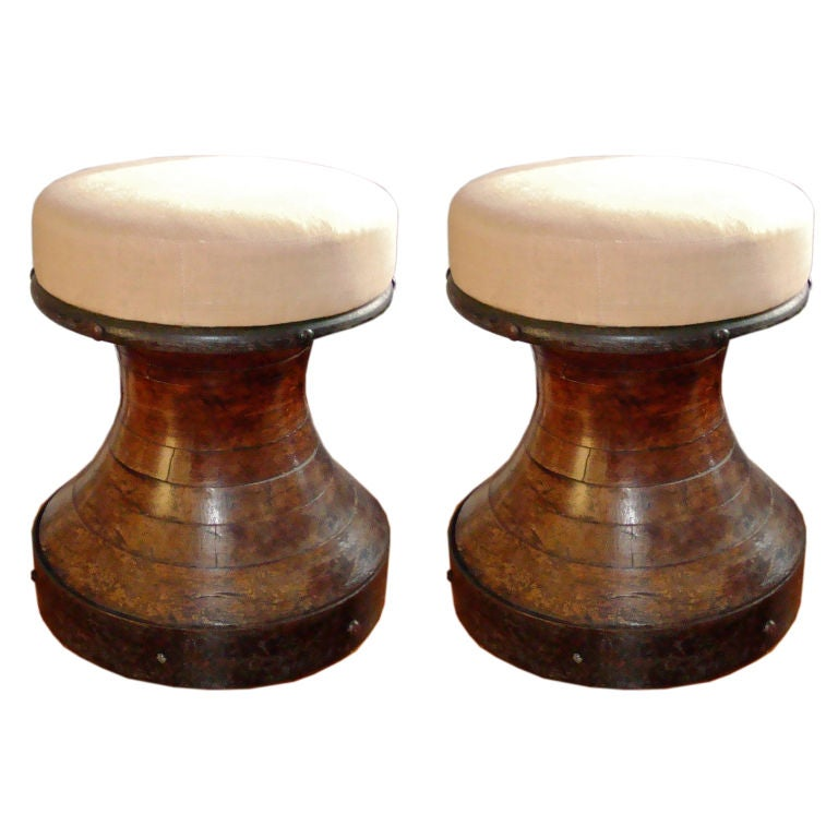 Great Pair Of Nautical Stools At 1stdibs
