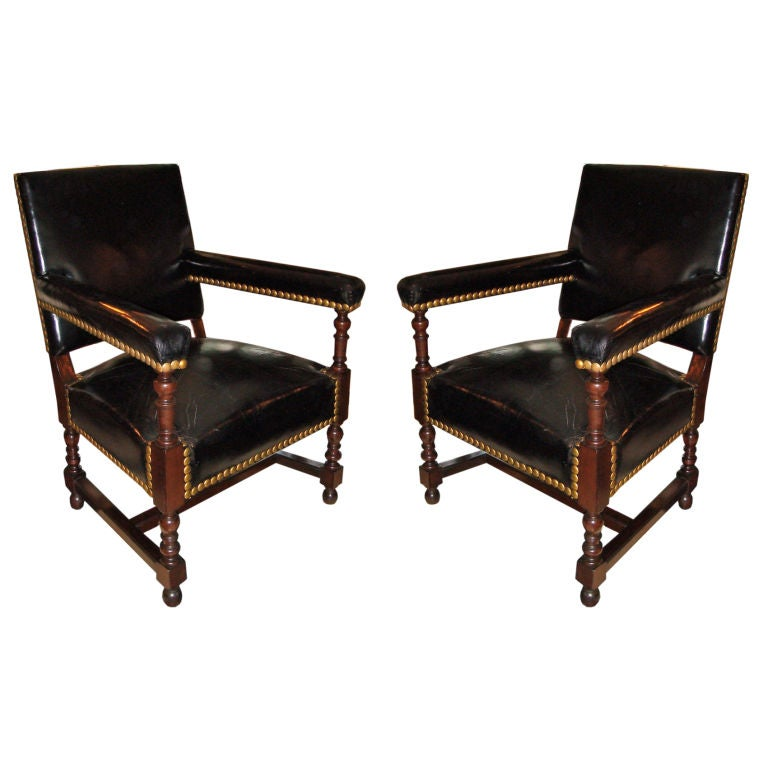 Pair of black leather studded chairs at 1stdibs for Leather studded couch
