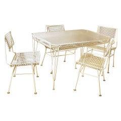 Terrace Pool House Bamboo Rattan Folding Dining Table Set