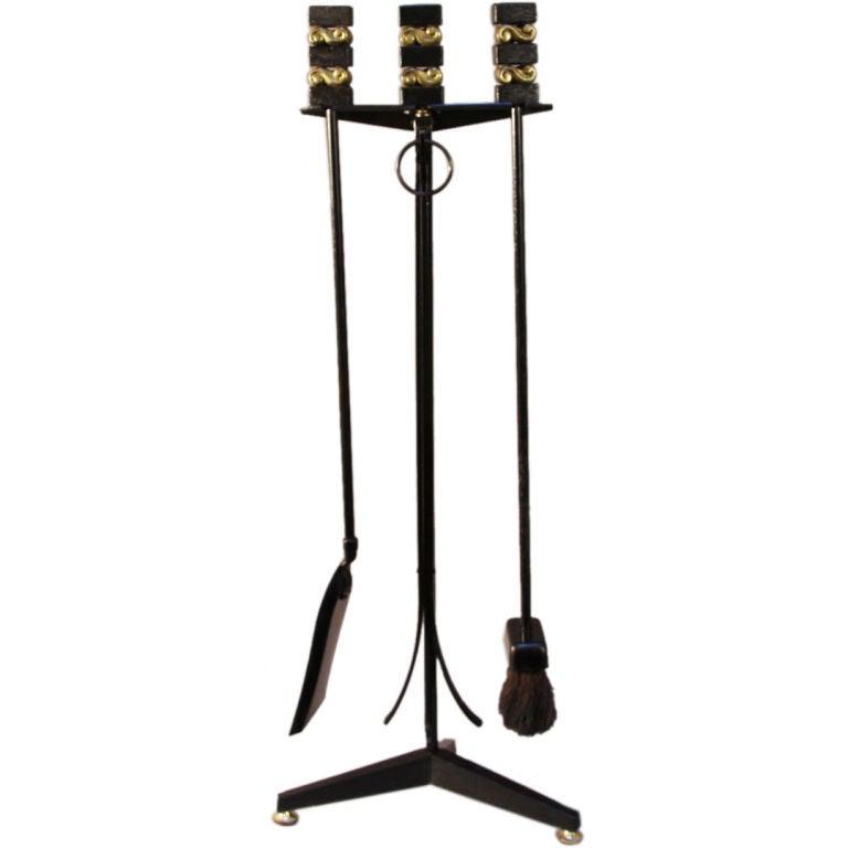 set of black fireplace tools at 1stdibs