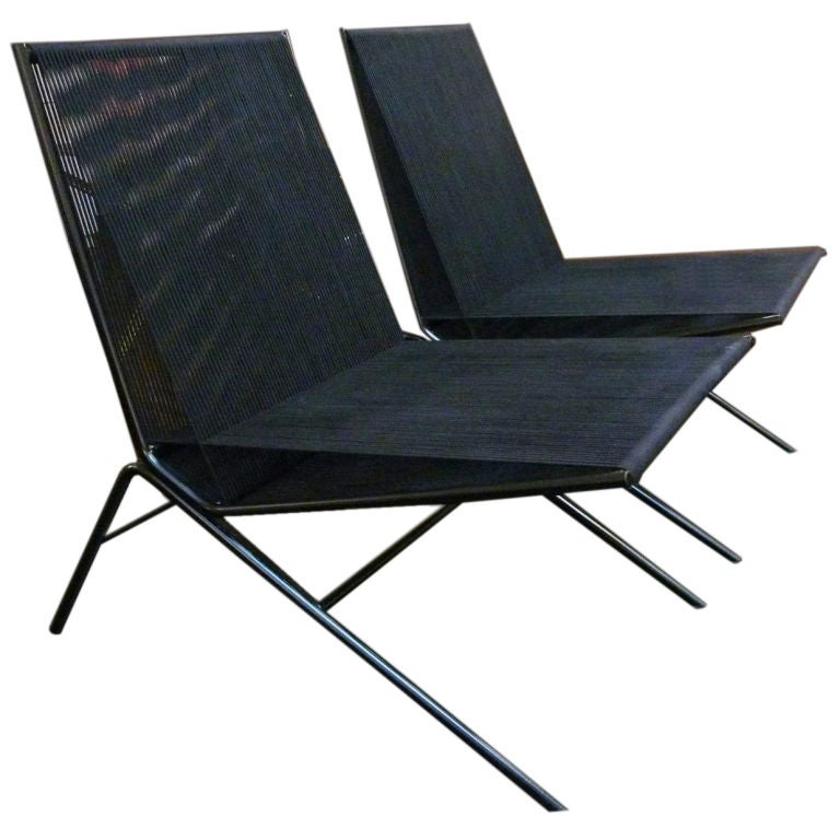Pair of Black Rope and Iron Chairs by Alan Gould at 1stdibs : XXX780712696272531 from www.1stdibs.com size 768 x 768 jpeg 56kB