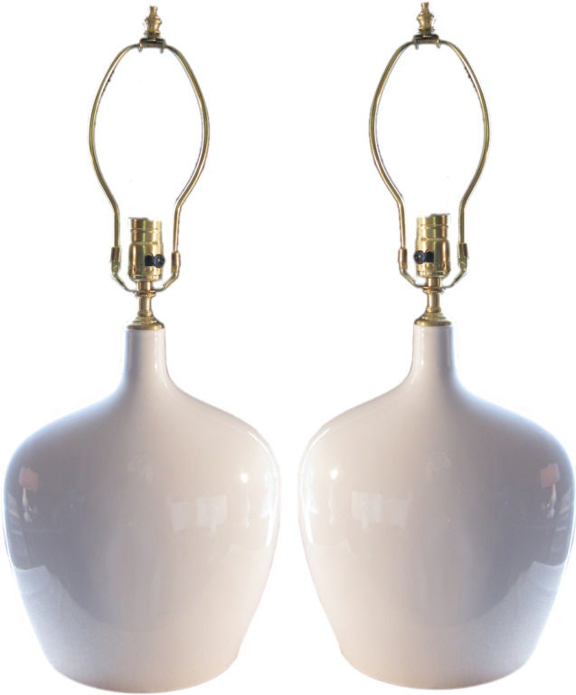 Pair of 1960's glazed ceramic vases with lamp application