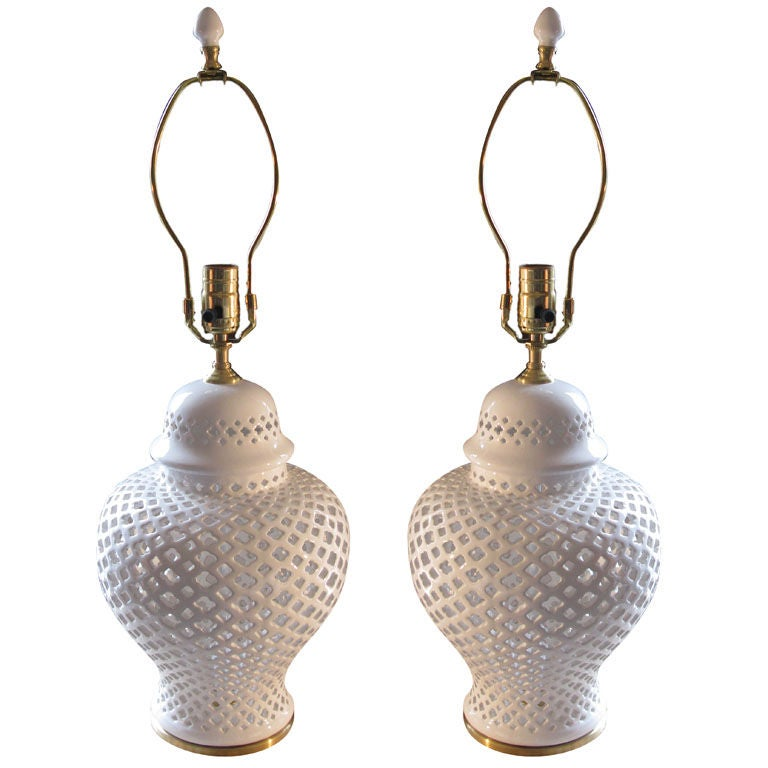 Pair of White ceramic filegree Ginger Jar with lamp application For Sale