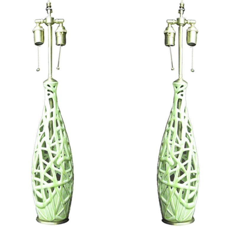 Pair of  french Art nouveau style table lamps. For Sale