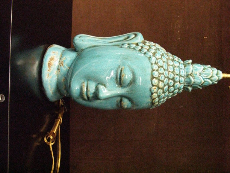 Pair  of glazed ceramic  buddha heads . In Excellent Condition In Long Island City, NY