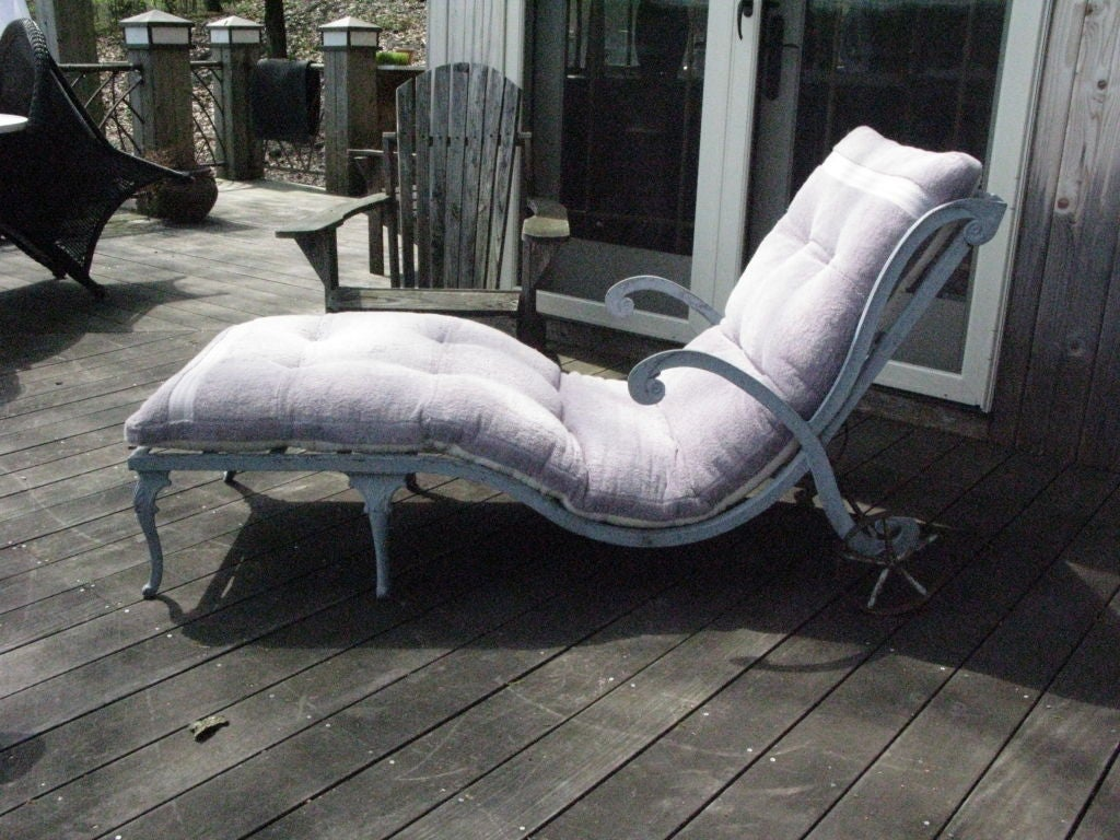 Pair of 1930 39 s cast aluminum outdoor lounge chaises at for 1930s chaise lounge