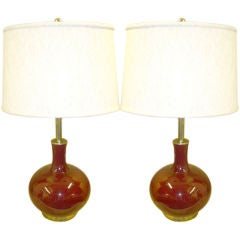 1980's Pair of gourde shape glass lamps.