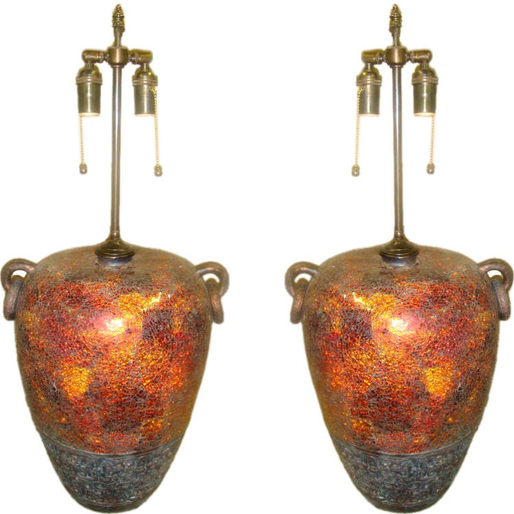Pair of 1970's crackled glass Table lamps