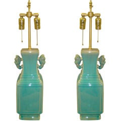 1960's Pair of turquoise Chinese style  table lamps
