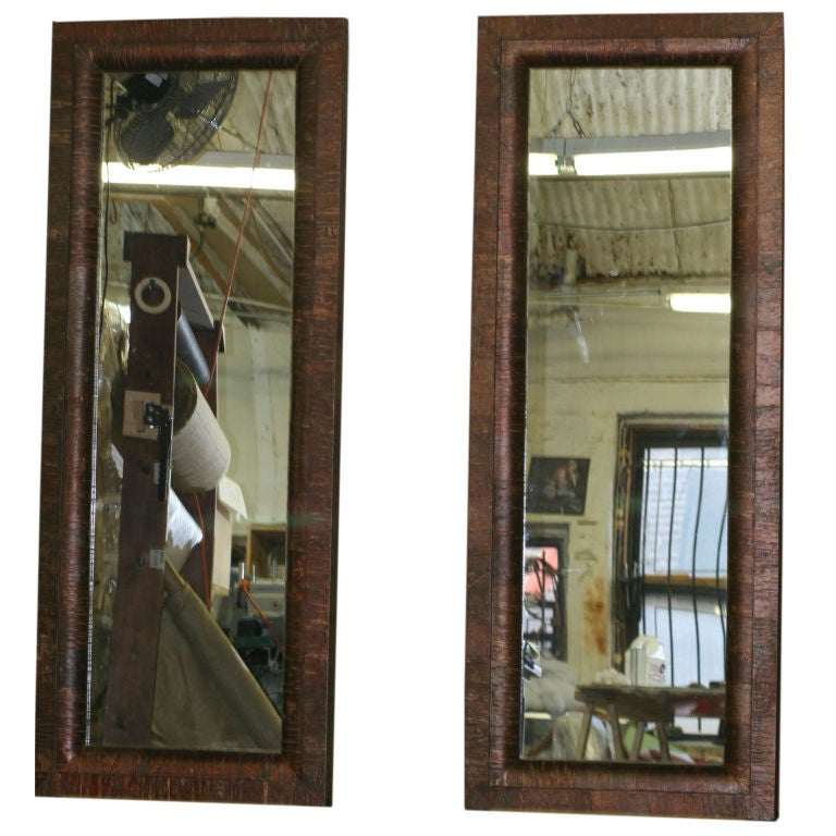 Pair of tall unusual red birch framed full length mirrors for Floor length mirror for sale