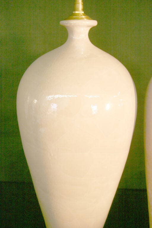 Pair Of Ceramic Glazed Vases With Lamp Application For