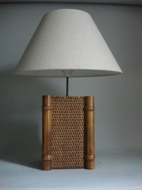 Woven Rattan And Bamboo Table Lamp At 1stdibs