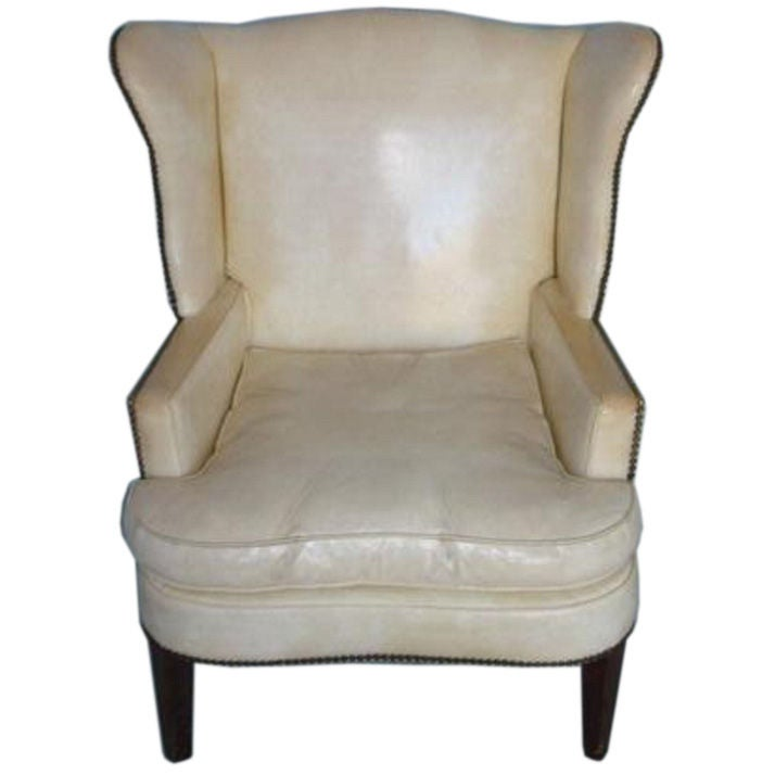 Antique Wing Chair with Original White Leather Upholstery
