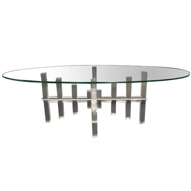 Vintage Oval Lucite Coffee Table With Lucite Block Base At