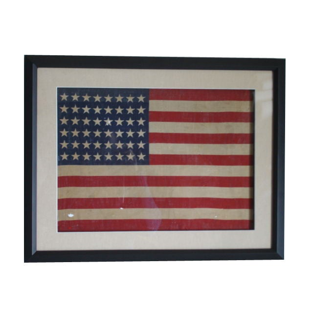 Small Vintage Framed 48 Star American Flag At 1stdibs