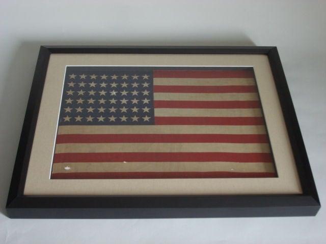 Small Vintage Framed 48 Star American Flag At 1stdibs