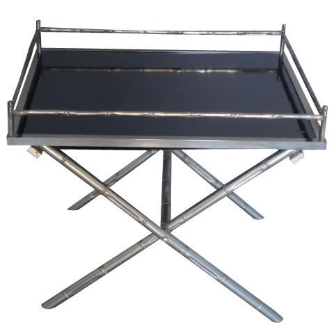 Vintage nickel tray coffee side table with black glass top for Antique coffee table with glass tray top