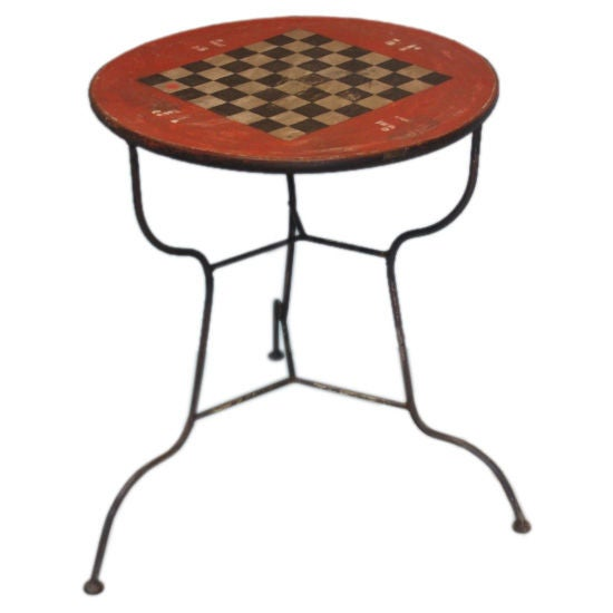 Antique Belgian Quot Checker Board Quot Round Bistro Table At 1stdibs