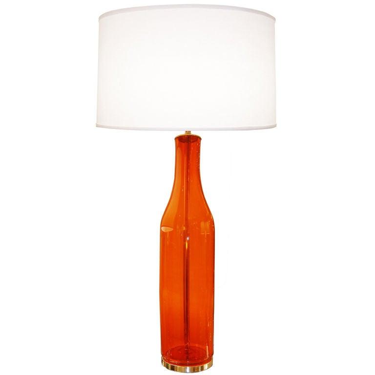 Blenko Large Orange Glass Lamp
